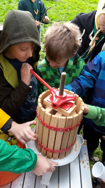 Cubs pressing the apple juice